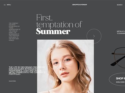 DEK 1045 2504 - eyewear layout exploration eyewear typogaphy typography minimal clean branding product page ecommerce fashion landing page ux ui