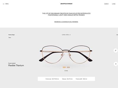 EYEWEAR - DK 1732 glassess ui design ui designer fashion webdesigner web ecommerce product page eyewear web design landing page ux minimal ui