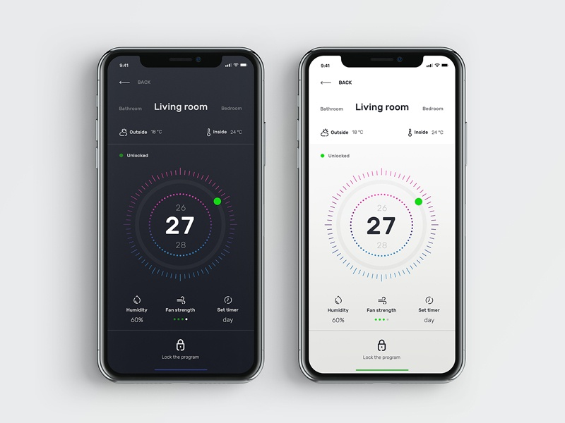 Smart Home thermostat app smart home ui