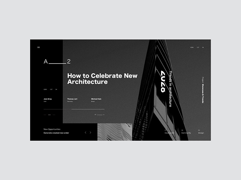 A ____2__3 ui minimal landing page black typography architecture