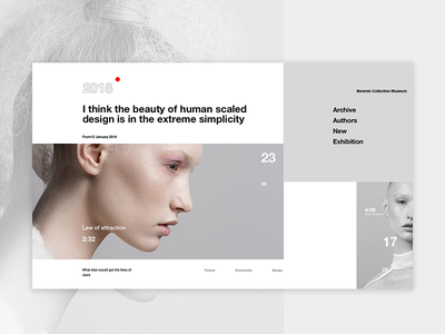 Laws of Attraction landing page gray museum minimal events fashion