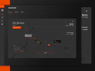 Fintess Dasboard - Track - Dark UI track view dark ui minimal clean fitness dashboard ui