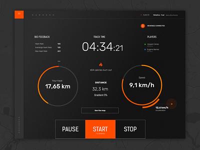 Fitness Dark UI - Treadmill treadmill dark ui minimal clean fitness dashboard ui
