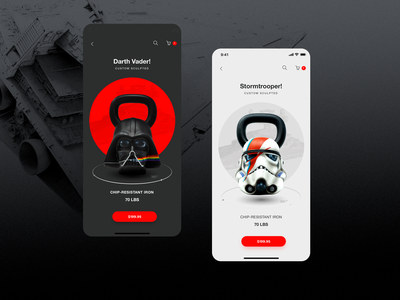 KS_1259_07 design app concept kettelbell clean black star wars starwars product design app design app ecommerce minimal ux ui