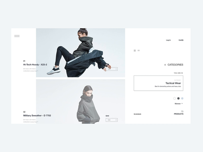 DD_1551_TECH web design product page protoype animated gif animation clean fashion ecommerce landing page ui ux minimal