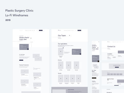 Lo-Fi Wireframes ux design ui  ux web wireframe design wireframing plastic surgery surgery landing page lo-fi wireframes