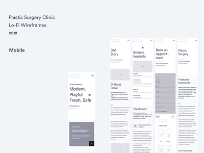 Lo-Fi Wireframes #2 - Plastic Surgery Clinic mobile design wireframe design wireframe lo-fi landing page ux minimal