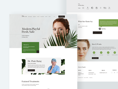 Plastic Surgery Clinic branding beauty clinic web clean plastic surgey web design product page ui landing page ux minimal