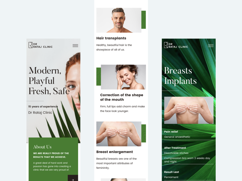 Dr Rataj Clinic - responsive webdesign leaf green design web mobile design responsive beauty clinic plastic surgery clean landing page ux ui