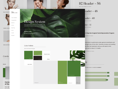 Design System - Plastic Surgery greens style guide styleguide clean user inteface atomic design design system web web design ui ux landing page minimal