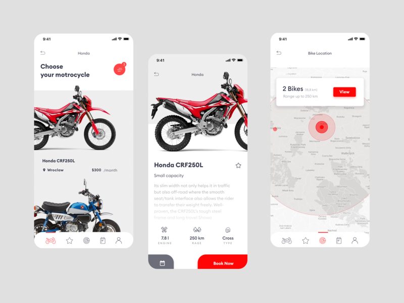M1254 - Motorcycle ios motorcycle rental user interface ui application ui red appdesign clean app ux ui