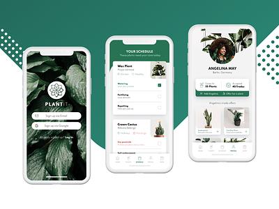 PlantIt - Mobile iOS App For Plant Care And Exchange nature mobile ui minimal ios interaction design flower design clean botanic app