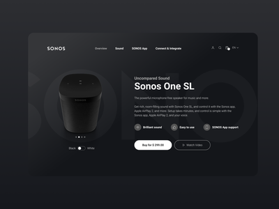 SONOS Web UI/UX Redesign - Dark Mode dark mode audio sound tech sonos app ui webdesign product design