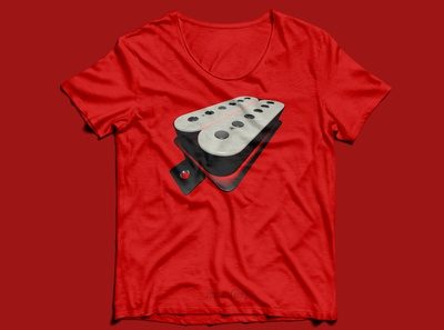Guitar Pickup Product (RED) T-Shirt Design