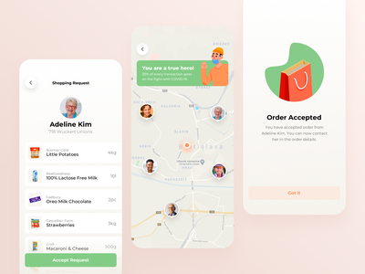 Elderly care social food delivery support covid19 help coronavirus shop shopping request map order care elderly application mobile design app ux ui