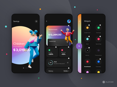 Savings App - MVP prototype customize illustration 3d drag interactions dark dark ui interaction minimum viable product savings card bank design app ux ui mvp protopie
