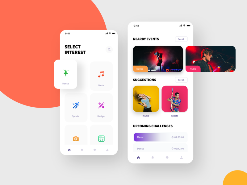 Connect App UI kit freebies color search gradient list grid challenges nearby events minimal design ux