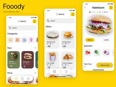 Fooody - food delivery app icon branding art minimal ux illustration app web ui design