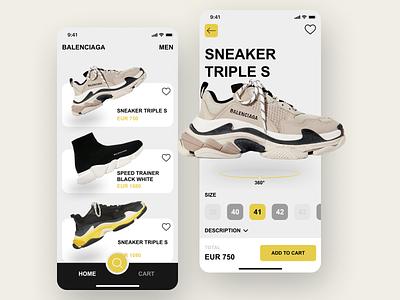 Shoes App balenciaga shoes design shoes store shoes app shoes ui uidesign graphic design design ux minimal art app