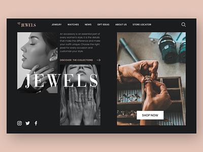 Jewels Web Page jewellery jewelery jewelry jewels jewel ui uidesign graphic design design ux minimal art app