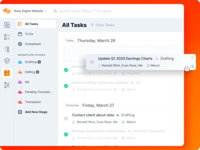 CMS - Tasks List calendar view week day date workflow stage menu mark check complete rearrange drop drag list to do