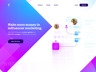 IRM Marketing Site - Hero Section web design branding illustration design gradient website startup sign up profile log in line landing page ios instagram influencer dotted crm