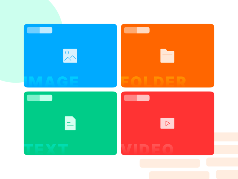 CMS Design System - File Type Icons icon illustration line ux ui cms branding flat gradient play film video texture folder picture image