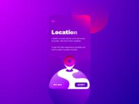 Location Access Screen blob app design ios android sun globe back arrow cta accept pin earth vector warmup ux gradient product design ui app gps
