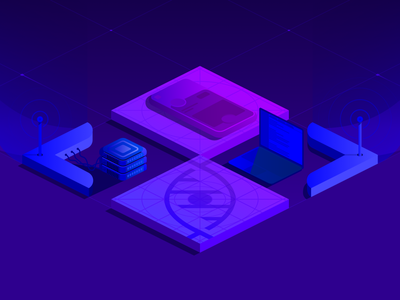 Marketing Site Hero Illustration connect grid logo laptop database antenna gradient isometric perspective grid phone