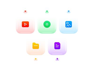 CMS Design System - File Type Icons grid 24px 3d bubble gradient plain text text document folder photo image audio video
