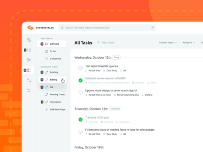 Contentstack CMS UI Updates - Tasks product design interaction case study manage content search filter ux ui web app update work in progress incomplete completed status workflow check item task to do