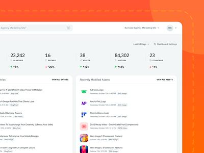 Contentstack CMS UI Updates - Dashboard cms project management recent re-design modified settings content tasks assets entries navbar progress metrics data analytics home dashboard web app ux ui