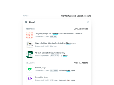 Contentstack CMS Design System - Contextualized Search filter update redesign typing cursor global dropdown input default text selected focus hover interaction ui ux search content management cms project management