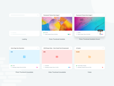 Contentstack CMS Design System - Media Cards (Finalized) content asset content management cms thumbnail guide tag tooltip action hover cover background image folder picture card skeleton loading photo video