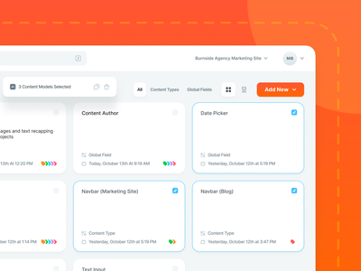 Contentstack CMS UI Updates - Content Models multi select list grid web app cms shadow gradient selected select actions multiple bulk actions date tag input checkbox card global content add new