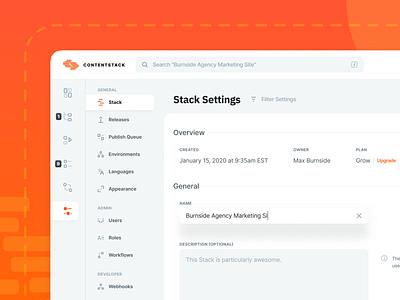 Contentstack CMS UI Updates - Settings queue menu billing plan upgrade search filter roles theme hover placeholder default input focus description admin email overview adjust customize
