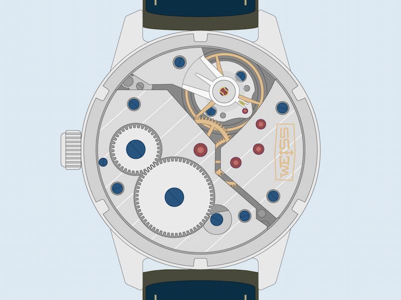 Weiss Standard Issue Field Watch Exhibition Caseback time dial khaki field illustration watch
