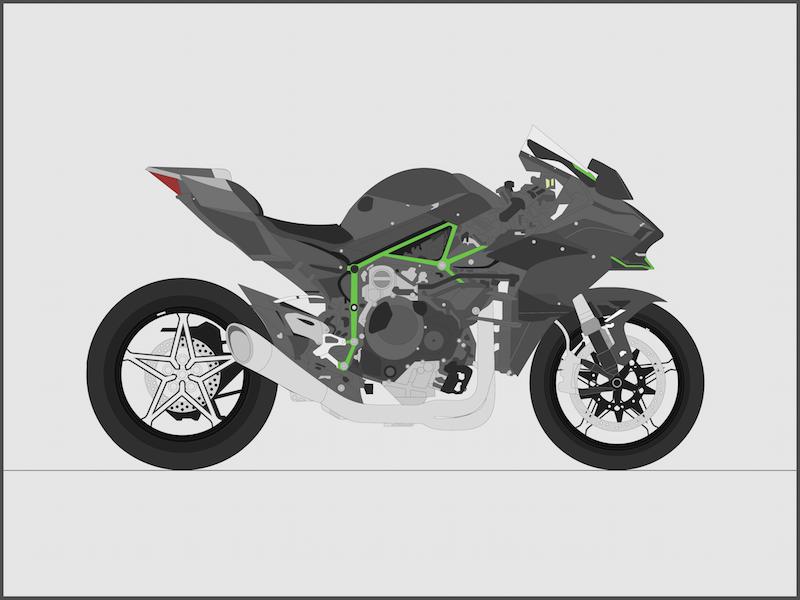 Kawasaki Ninja H2R - Side [Full Color] kawasaki ninja h2r motorcycle vehicle illustration