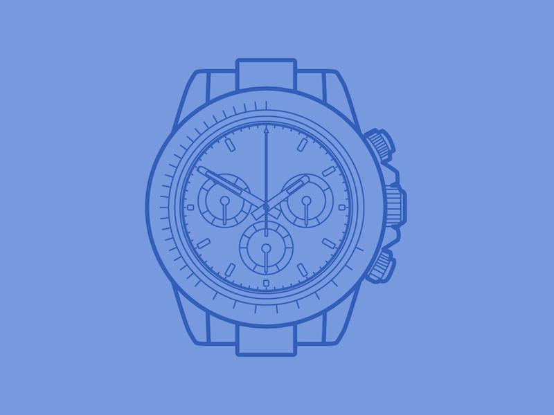 Rolex Daytona - 30 Minute Warmup flat wip drawing line watch daytona rolex illustration warmup