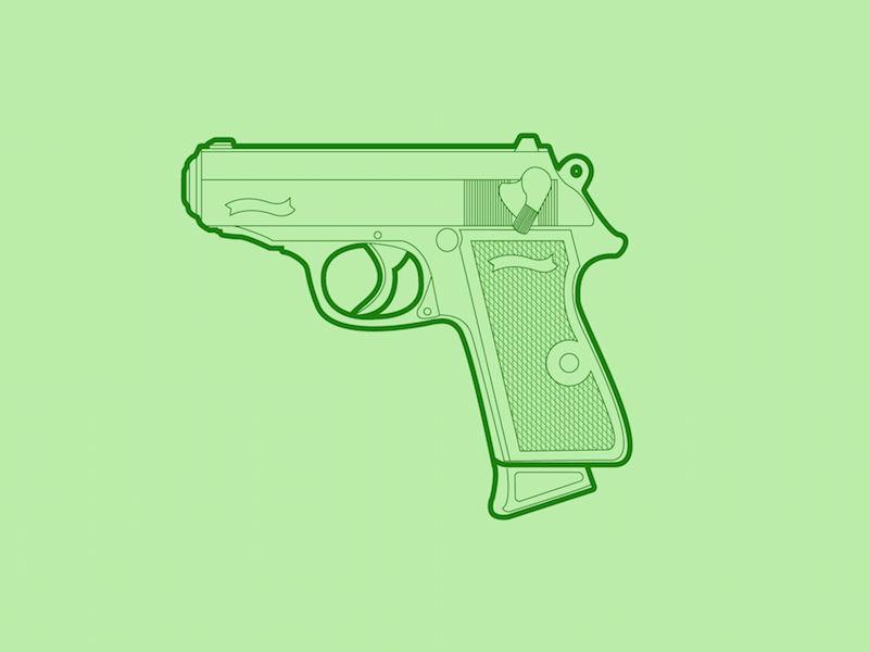 Walther PPK - 30 Minute Warmup warmup illustration weapon handgun ppk walther gun wip flat line
