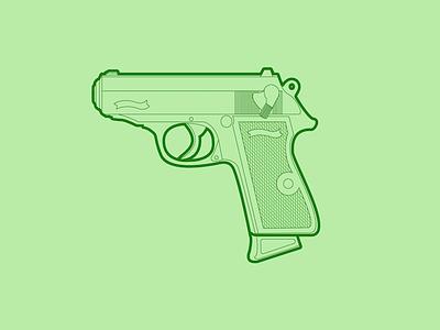 Walther PPK - 30 Minute Warmup warmup illustration weapon handgun ppk walther gun wip flat line