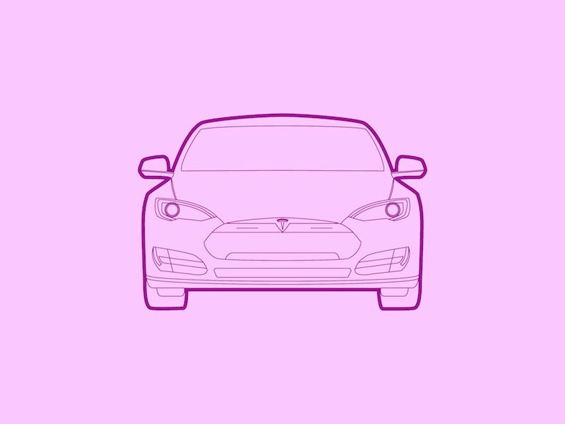 Tesla Model S - 30 Minute Warmup warmup illustration model s tesla car automobile drawing wip flat line