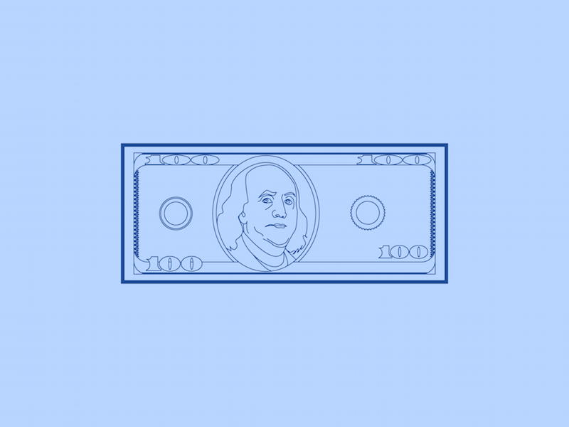 C Note - 30 Minute Warmup warmup illustration wip flat line franklin bill dollar hundred money