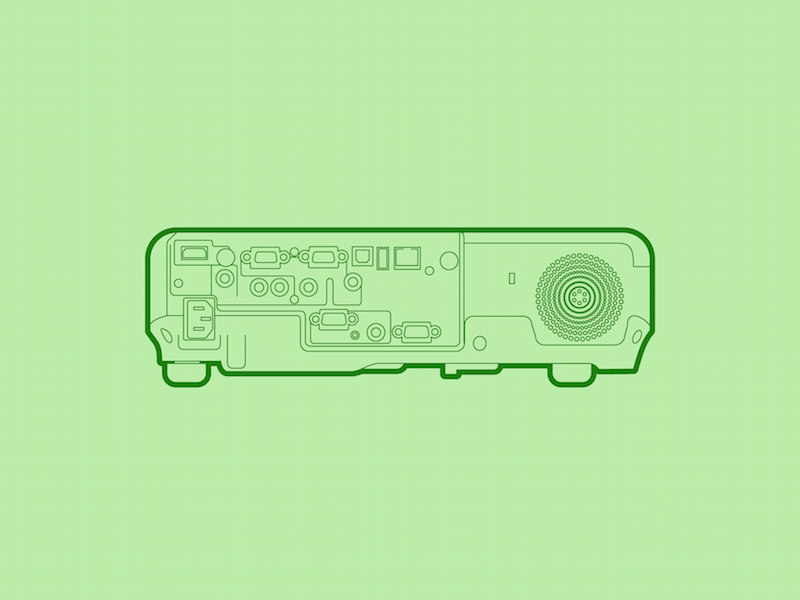 Projector - 30 Minute Warmup screen tv electronics projector line flat wip illustration warmup