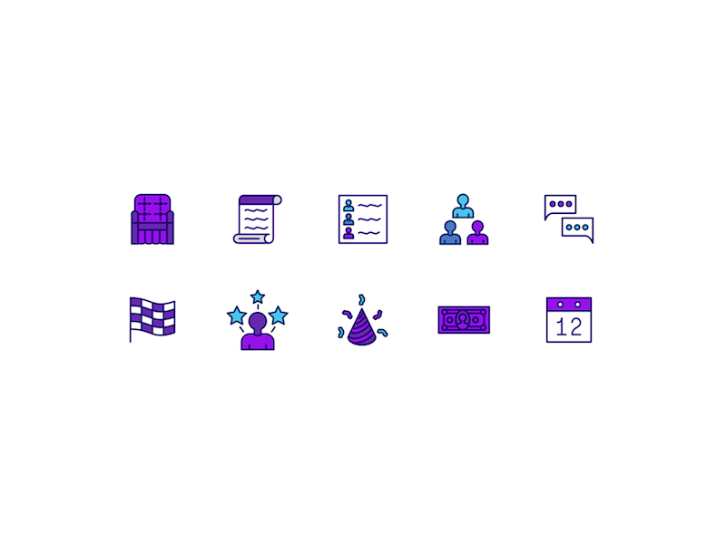 Relay For Life Icon Set star calendar race money message meeting people contract chair ui icon relay for life
