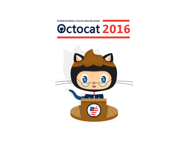 Octocat For Prez 2016 cat politics campaign 2016 president illustration octocat github