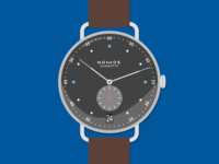 Nomos Metro 38 Datum Watch Illustration