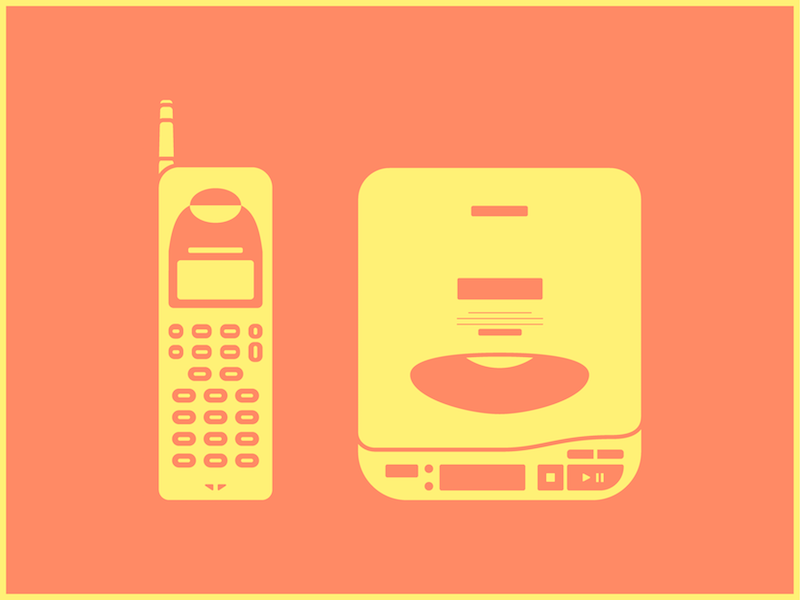 1991 old portable cd player walkman phone
