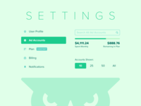 Ad Accounts - Settings Page