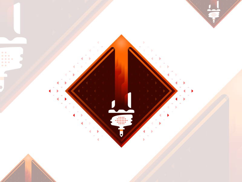 Branding Design Service Badge (Updated) diamond point arrow orange red polygon low poly low fidelity gradient flow brush paint